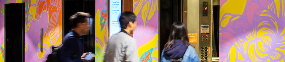 UNSW Library Alumni mural commission:by Louise Zhang in Lift foyer Level 2 Main Library