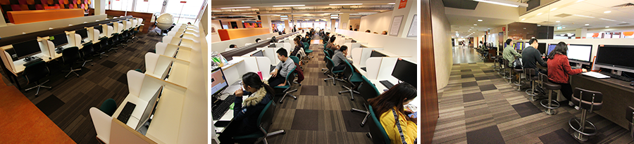 Main Library - Sample computer areas using individual desks or bench