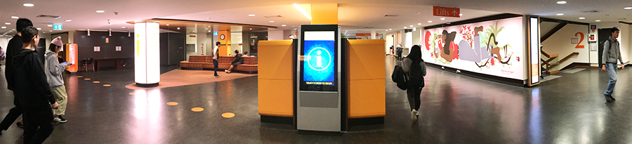 Main Library - Help Zone showing location of Wayfinder Kiosk