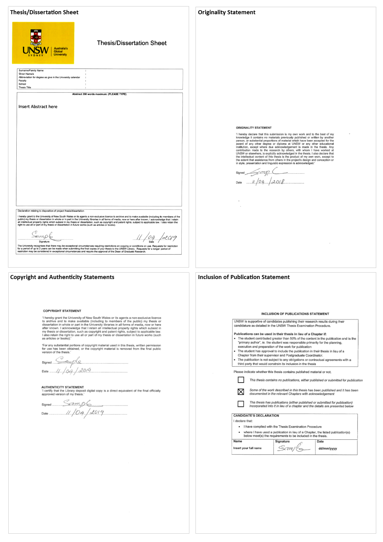 Signed example pages of the 4 mandatory documents that are required in the master copy of your digital thesis.