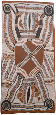 Sea Country - Narritjin Maymuru Possum Dreaming Story  c.1970 natural pigments on bark  103 x 49 cm  UNSW ART COLLECTION